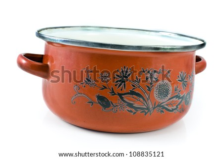 Old cooking pot isolated on white - stock photo