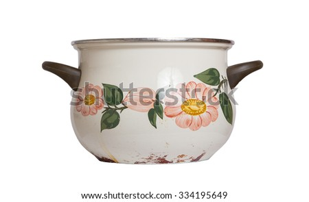 Old cooking pot isolated on white background - stock photo