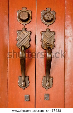 Old copper door knob - stock photo