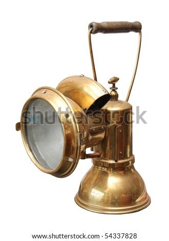 Old copper miner carbide lamp on a white background. - stock photo