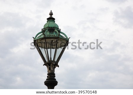 Old copper roofed lamppost