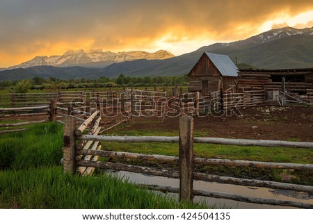 Old corral and barn in rural Utah, USA. - stock photo