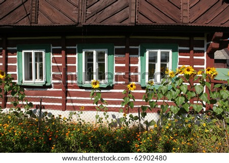 old cottage, Czech republic outdoor museum in Jilemnice - stock photo