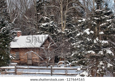 Old cottage nestled amongst the trees.  Winter in Wisconsin.  Scenic winter landscape. - stock photo