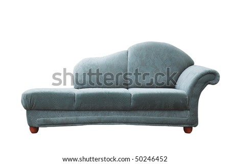 old couch is on white background - stock photo