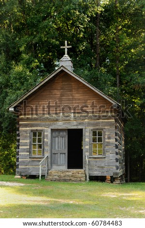 Old Country Log House Church. - stock photo
