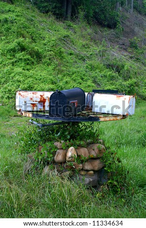Old Country Mailboxes on a Wheel That Turns - stock photo