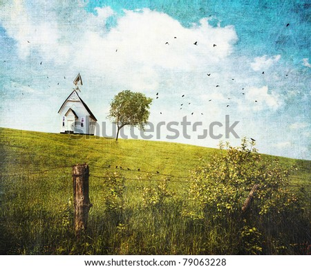 Old country school house  on a hill with textured feeling - stock photo