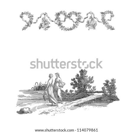 Old country women illustration - stock photo