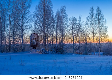 Old countryside building on moonlight - stock photo