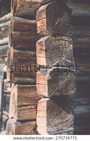 old countryside house wooden wall details and close-up - retro vintage film effect - stock photo
