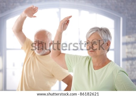 Old couple doing exercises in the gym.? - stock photo
