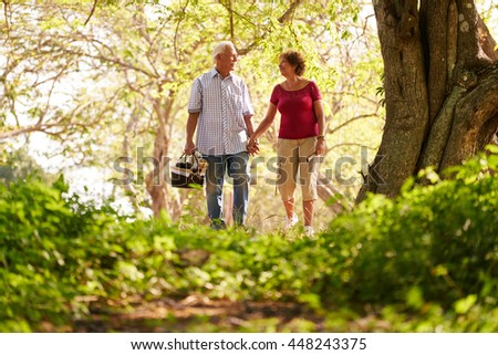 Old couple, elderly man and woman in park. Active retired seniors holding hands and walking in park with a picnic basket - stock photo
