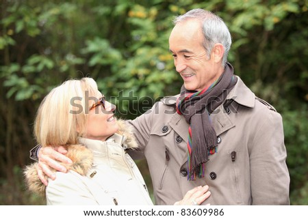 Old couple in garden