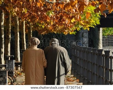 Old couple walking autumn path - stock photo