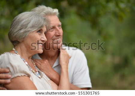 Old couple walking on fresh air