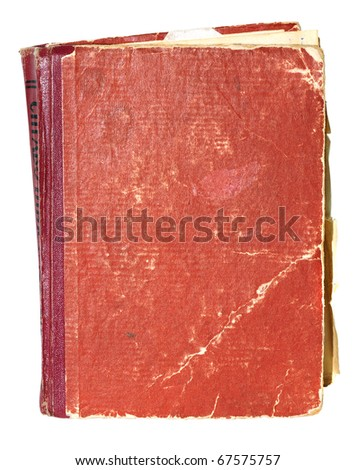 Old cover of the book isolated on white - stock photo