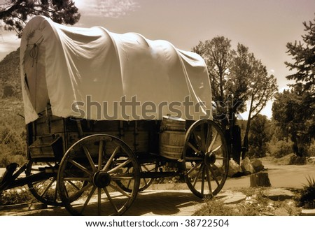 old covered wagon from the days of the wild west