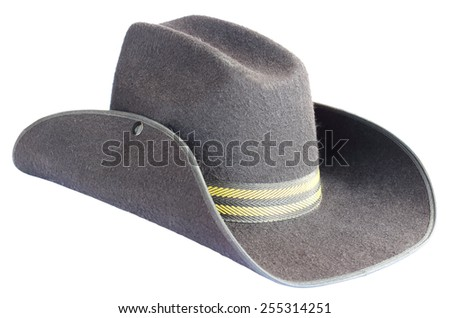 Old cowboy hat on white background - stock photo