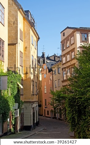 Old cozy street in the center of Stockholm, Sweden. - stock photo