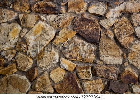 old cracked brick wall background - stock photo