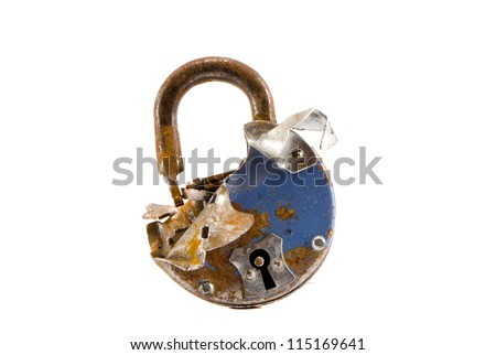 old cracked metal lock isolated on white background - stock photo