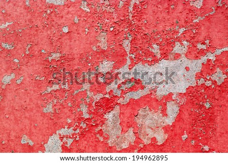 Old cracked red paint background texture wall - stock photo
