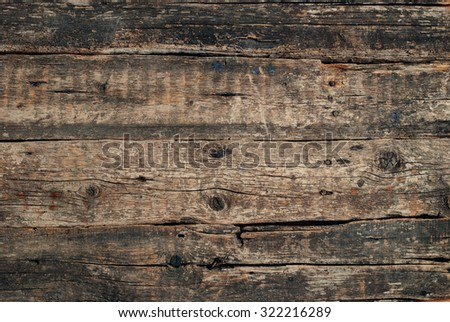 Old Cracked Wood Background with Knots. Vintage background - stock photo