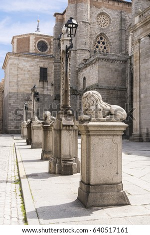 Old Craved Lions atop Pedestal in Medieval European Town of Avila