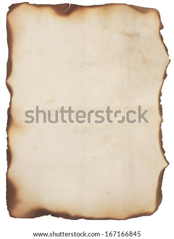 Old, creased and smudged paper with fire damaged and burned edges. Blank with room for text or images. Isolated on white. - stock photo