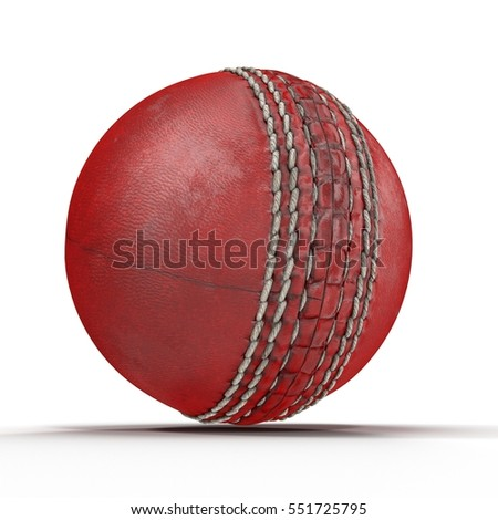 Old Cricket Ball on white. 3D illustration
