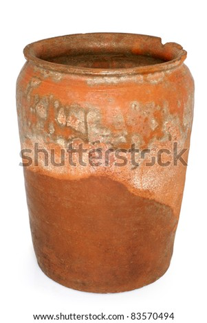 Old crock on a white background