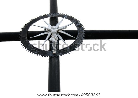 old cross isolated on a white background - stock photo