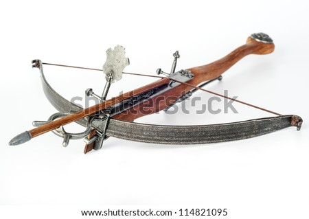 old crossbow on white background - stock photo