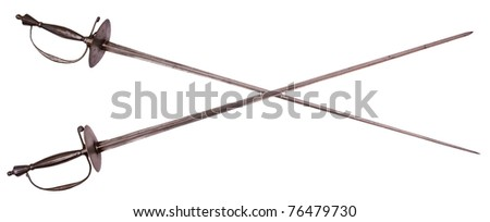 Old crossed rapiers isolated on white background - stock photo