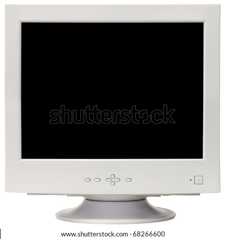 Old CRT computer monitor isolated inside and outside with clipping path - stock photo