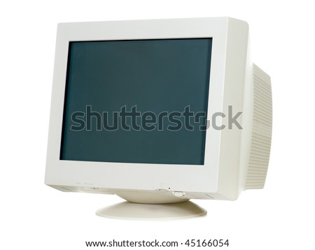 Old CRT monitor isolated on white - stock photo
