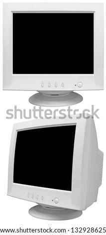 Old CRT monitor isolated on white background - stock photo