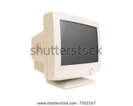Old CRT monitor over white background - stock photo