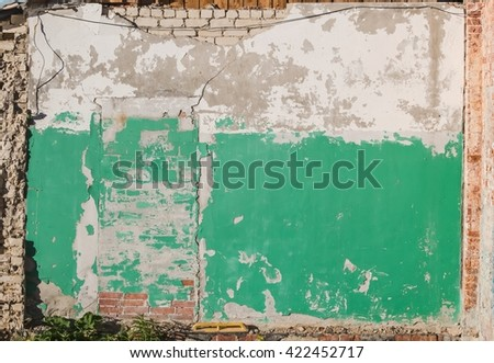 Old crumbling painted brick wall with bricked up doorway. Architectural details for texture or background & Old Crumbling Painted Brick Wall Bricked Stock Photo 422452717 ...