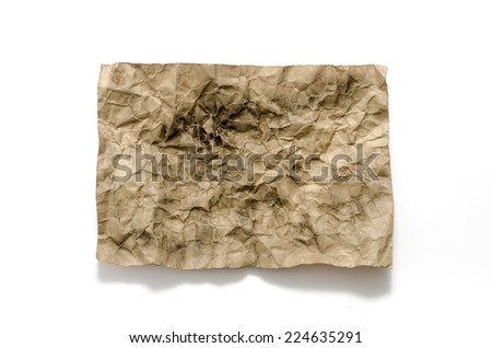 old crumpled paper burn on a white background
