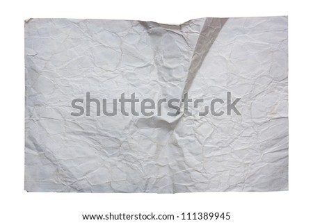 Old crumpled paper sheet on white - stock photo