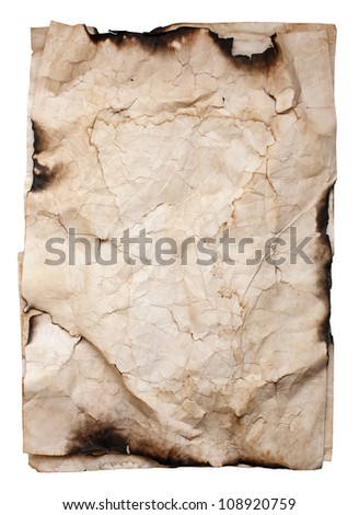 Old crumpled paper texture isolated on white background - stock photo