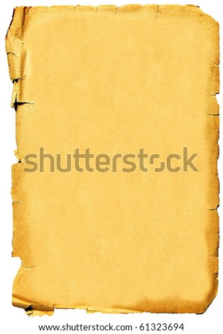 Old crumpled paper texture isolated on white background. Vintage background - stock photo