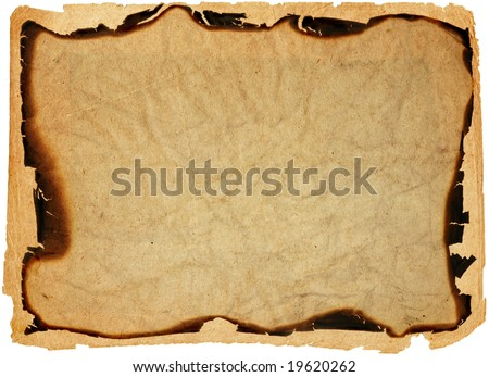 old crumpled paper with burned edges
