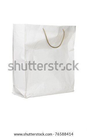 Old crumpled used paper bag on white background