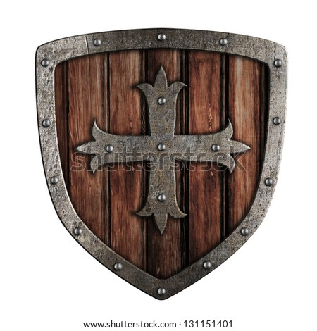 Old crusader wooden shield illustration isolated on white - stock photo
