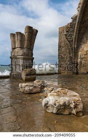 Old crusaders castle of 13th century into the sea in Saida, Lebanon - stock photo