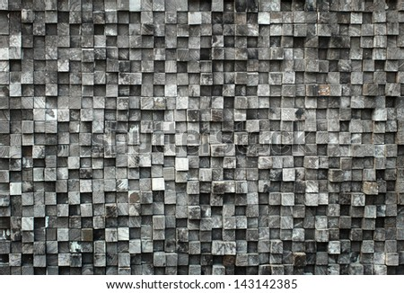 old cube black wood texture with dark vignette - stock photo