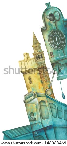 Old cuckoo clock and tram. Illustration by Eugene Ivanov.